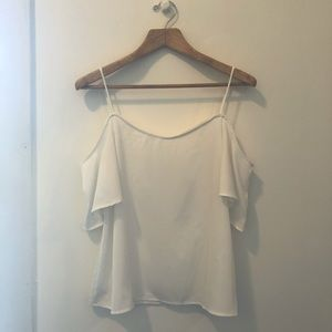 BP Off-The-Shoulder White Crepe Top